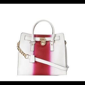 White and Pink Spray Michael Kors Hamilton Bag